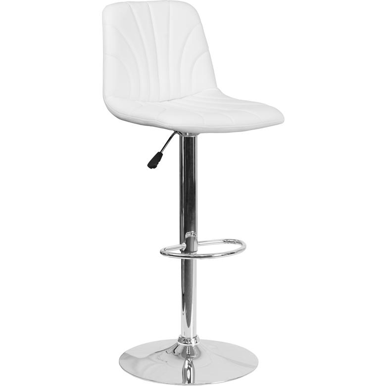 Contemporary White Vinyl Adjustable Height Barstool with Embellished Stitch Design and Chrome Base. Picture 1