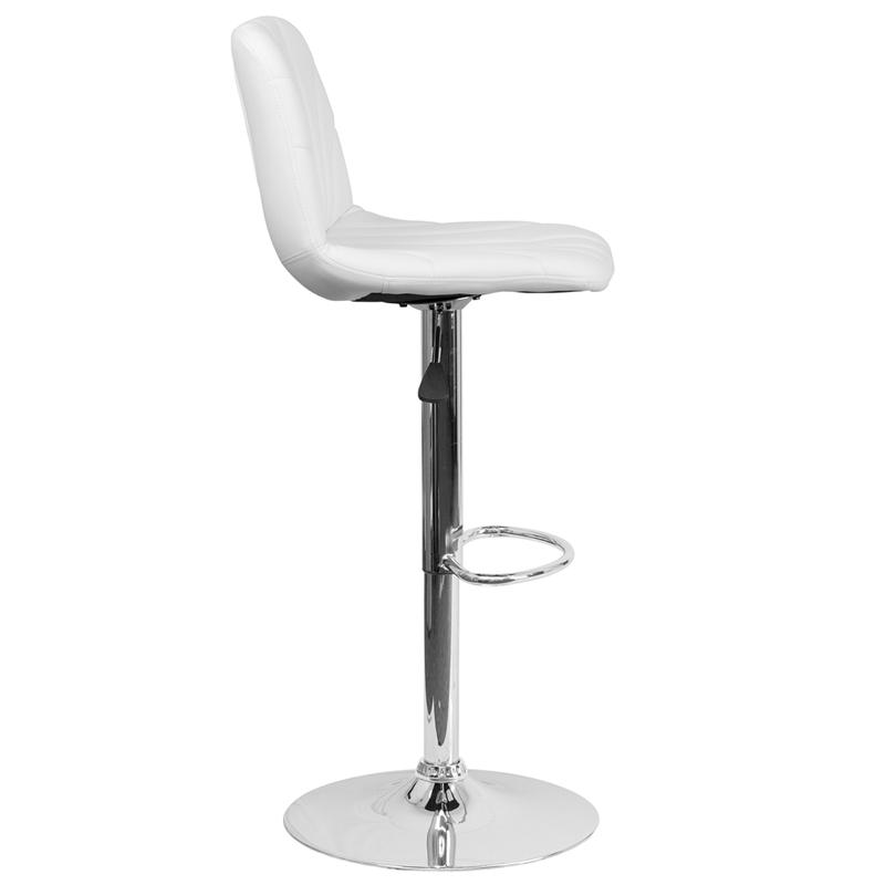 Contemporary White Vinyl Adjustable Height Barstool with Embellished Stitch Design and Chrome Base. Picture 2