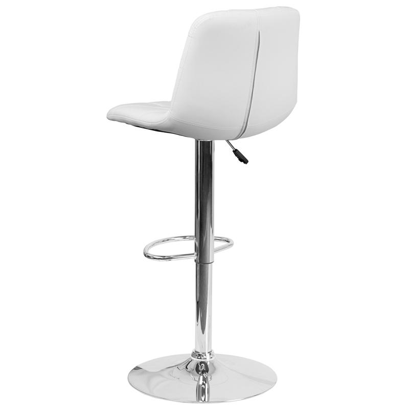Contemporary White Vinyl Adjustable Height Barstool with Embellished Stitch Design and Chrome Base. Picture 3