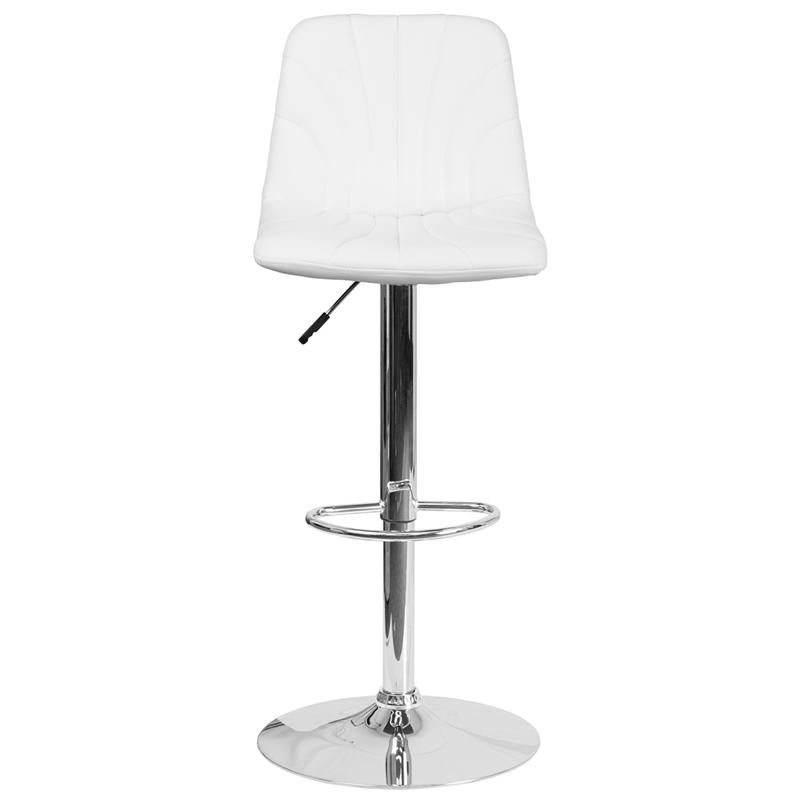 Contemporary White Vinyl Adjustable Height Barstool with Embellished Stitch Design and Chrome Base. Picture 4