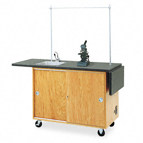 Mobile Laboratory Table, Rectangular, 48w x 24d x 36h, Black. Picture 1