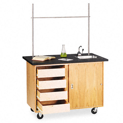 Mobile Demonstration Table, Rectangular, 48w x 28d x 36h, Black. Picture 1