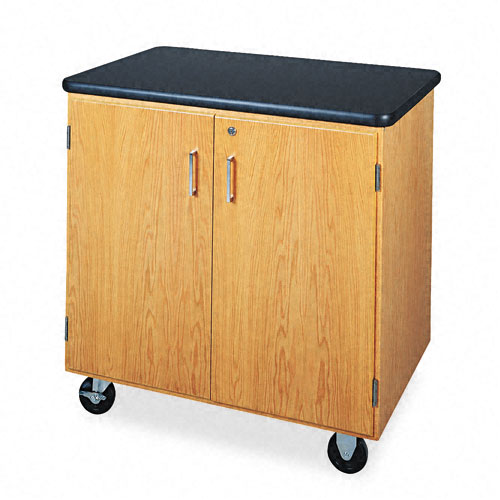 Mobile Storage Cabinet, 36w x 24d x 36h, Black/Oak. The main picture.