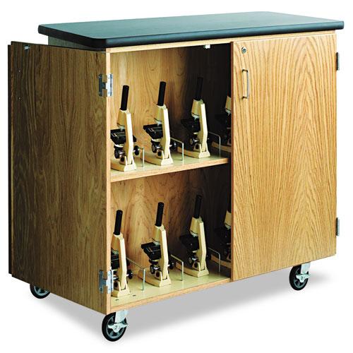 Mobile Microscope Storage Cabinet, 48w x 24d x 40h, Black/Oak. Picture 1