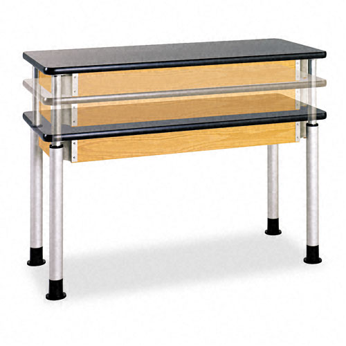 Adjustable-Height Table, Rectangular, 48w x 24d x 27h, Black. Picture 2
