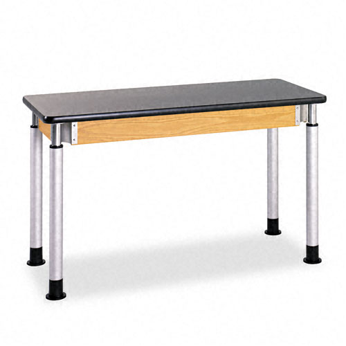 Adjustable-Height Table, Rectangular, 48w x 24d x 27h, Black. Picture 1