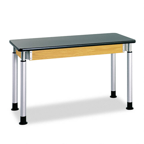 Adjustable-Height Table, Rectangular, 54w x 24d x 27h, Black. Picture 1
