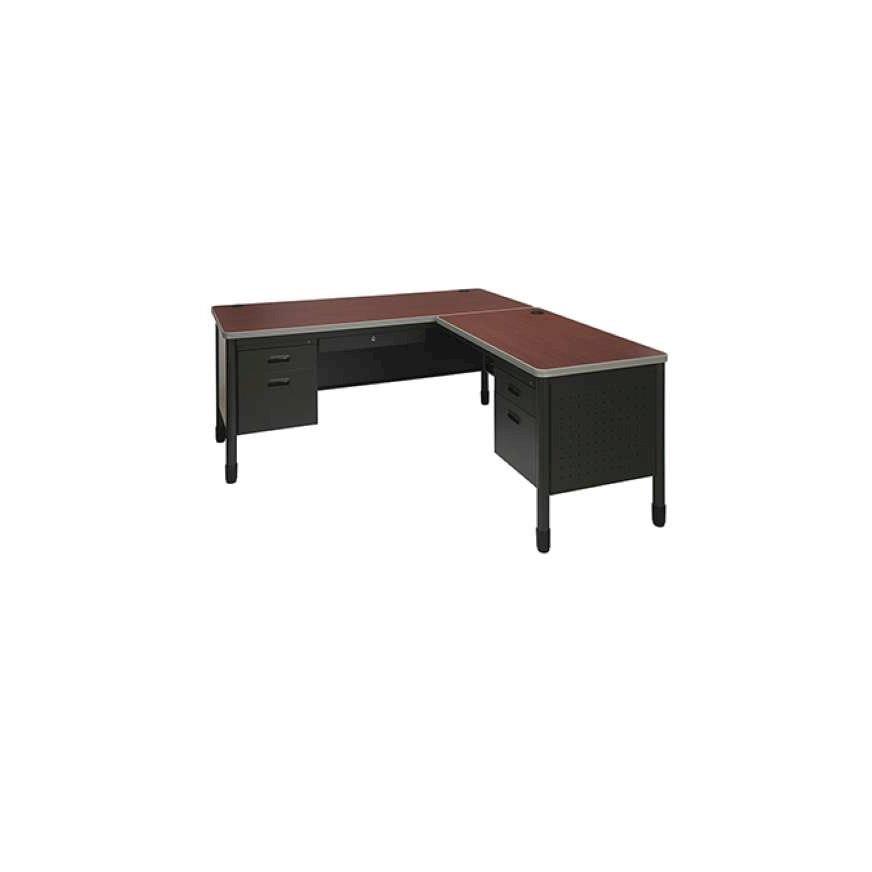 OFM Single Pedestal L-Shaped Desk with Right Pedestal Return with Laminate Top
