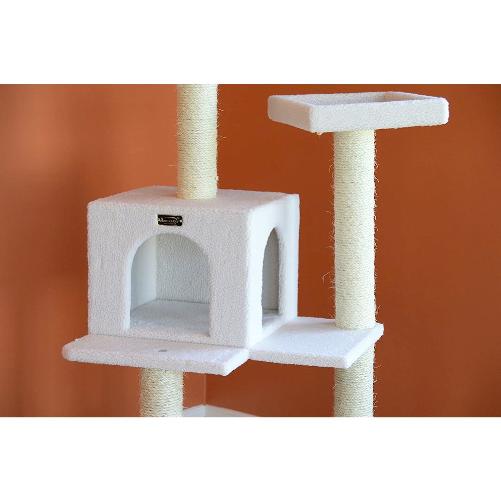 Armarkat Model B5701 57-Inch Classic Cat Tree in Ivory, Jackson Galaxy Approved, Four Levels with Two Perches and Two-Door Condo. Picture 6