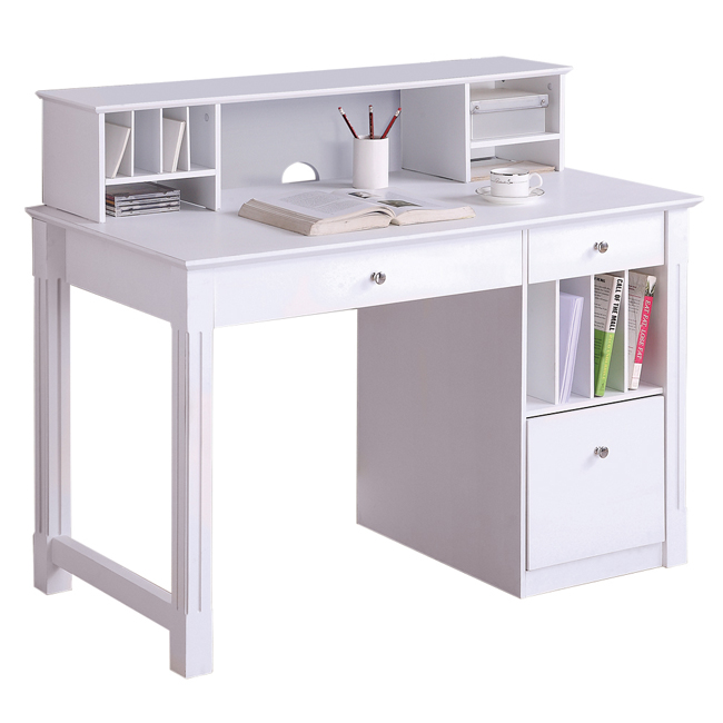 Deluxe White Wood Computer Desk with Hutch. Picture 1