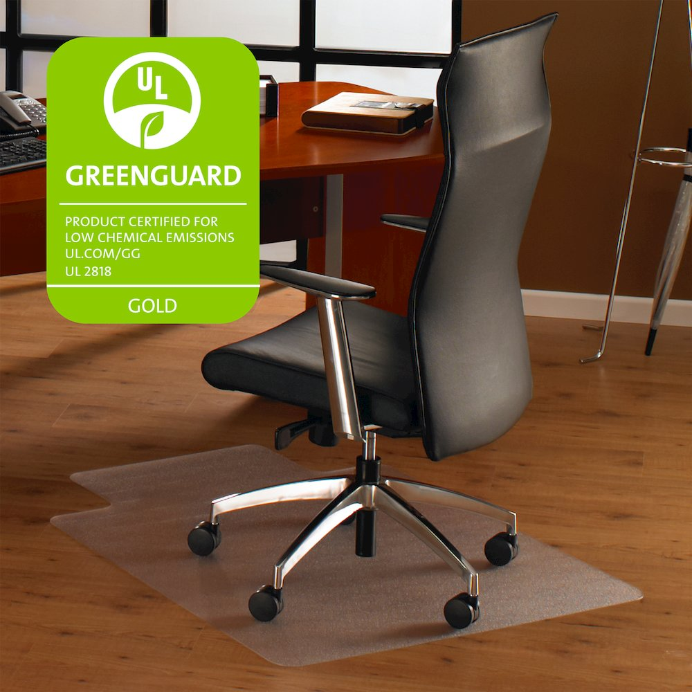 """Cleartex Ultimat Chair Mat, Rectangular With Lip, Clear Polycarbonate, For Hard Floor, Size 48"""" x 60"""". Picture 2"""