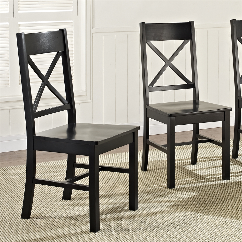Black Wood Dining Chairs, Set of 2. Picture 1