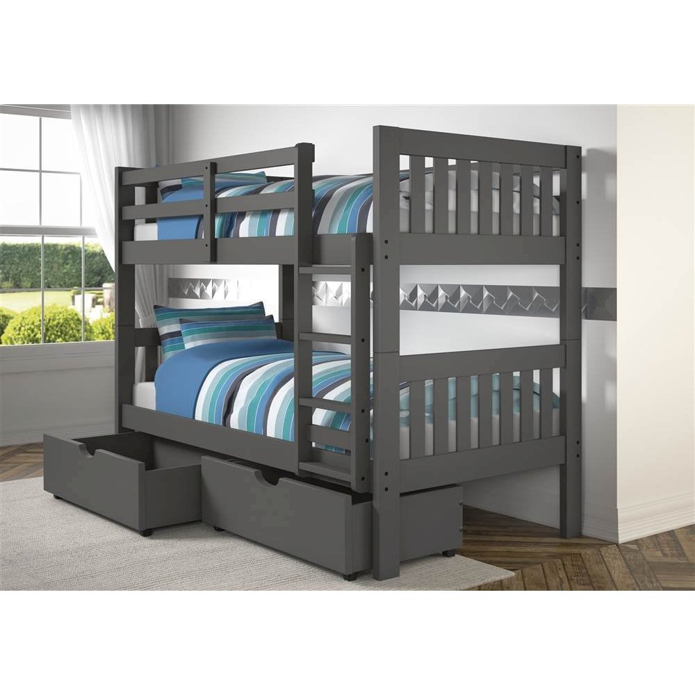 Twin Twin Mission Bunk Bed W Dual Under Bed Drawers