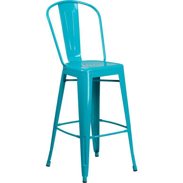 30 High Crystal Teal Blue Metal Indoor Outdoor Barstool