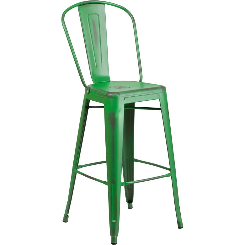 "Commercial Grade 30"" High Distressed Green Metal Indoor-Outdoor Barstool with Back. Picture 1"