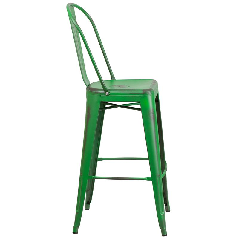 "Commercial Grade 30"" High Distressed Green Metal Indoor-Outdoor Barstool with Back. Picture 2"