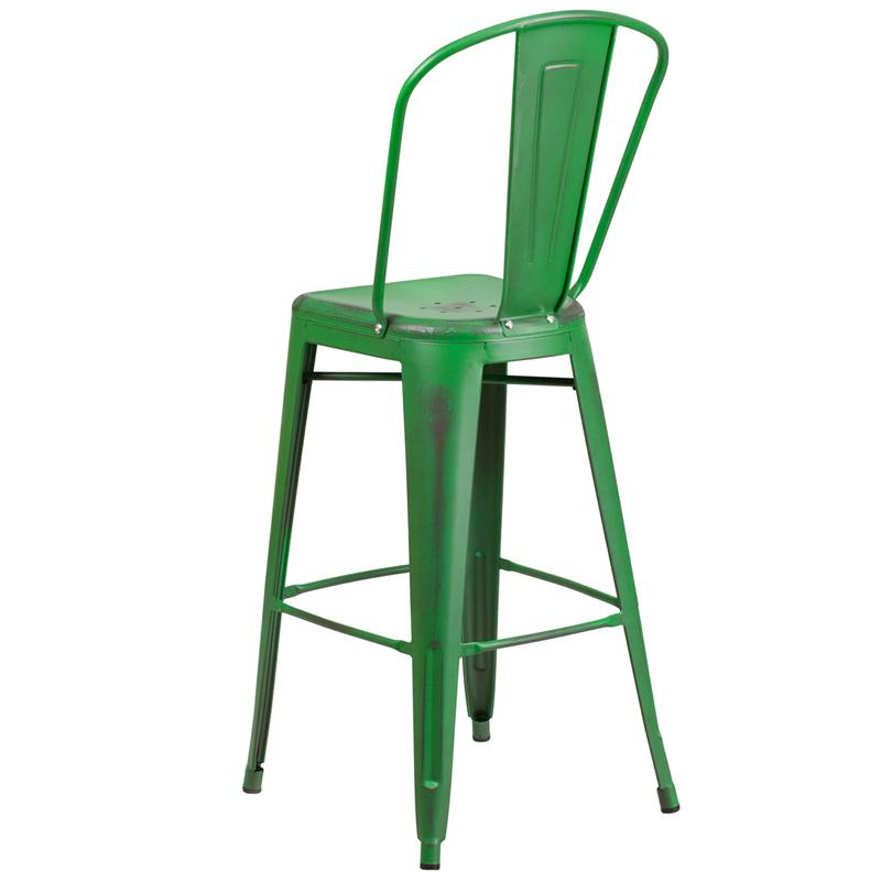 "Commercial Grade 30"" High Distressed Green Metal Indoor-Outdoor Barstool with Back. Picture 3"