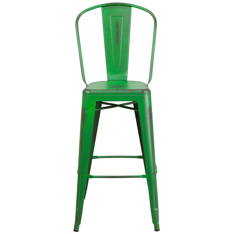 "Commercial Grade 30"" High Distressed Green Metal Indoor-Outdoor Barstool with Back. Picture 4"