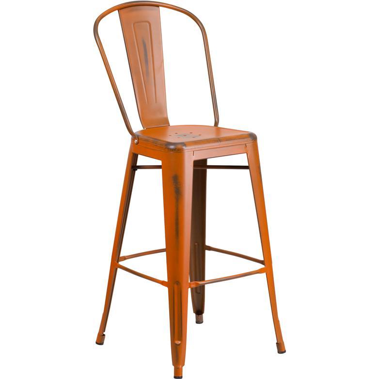 30 High Distressed Orange Metal Indoor Outdoor Barstool