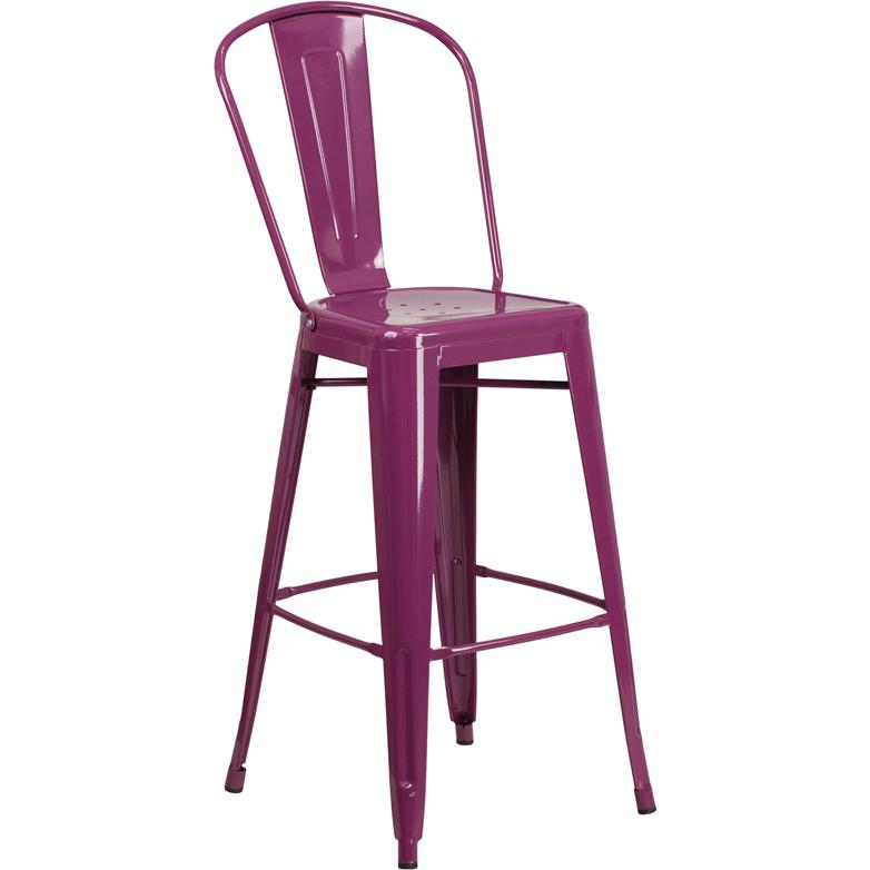 30 High Purple Metal Indoor Outdoor Barstool With Back