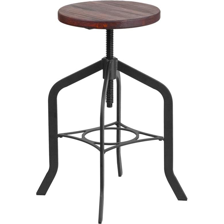 24 Counter Height Stool With Swivel Lift Wood Seat