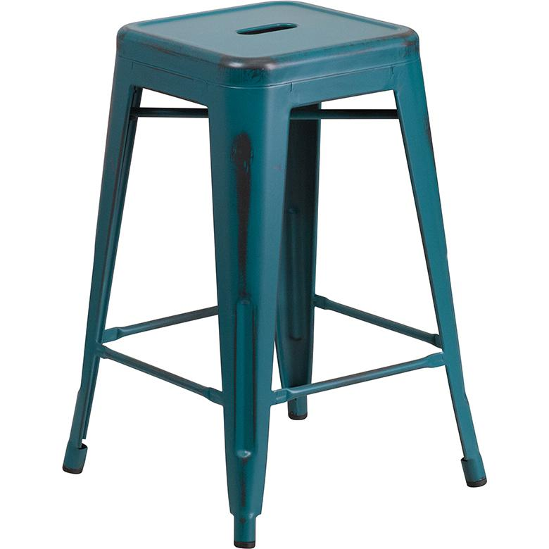 """24"""" High Distressed Kelly Blue-Teal Metal In-Outdoor Counter Height Stool. Picture 1"""