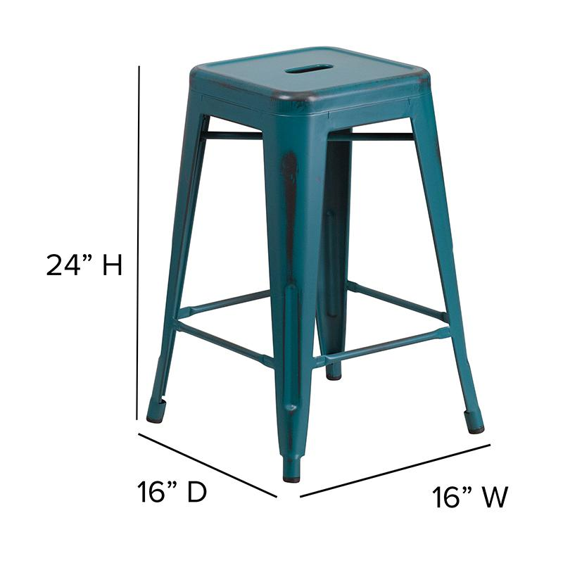 """24"""" High Distressed Kelly Blue-Teal Metal In-Outdoor Counter Height Stool. Picture 3"""