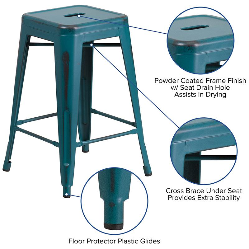 """24"""" High Distressed Kelly Blue-Teal Metal In-Outdoor Counter Height Stool. Picture 2"""