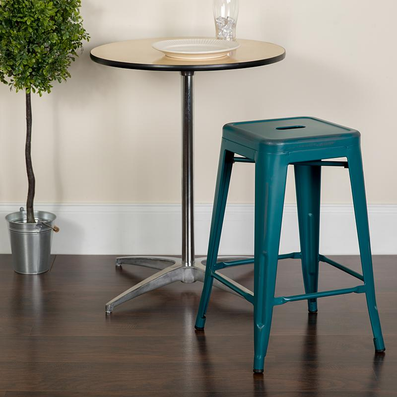 """24"""" High Distressed Kelly Blue-Teal Metal In-Outdoor Counter Height Stool. Picture 4"""