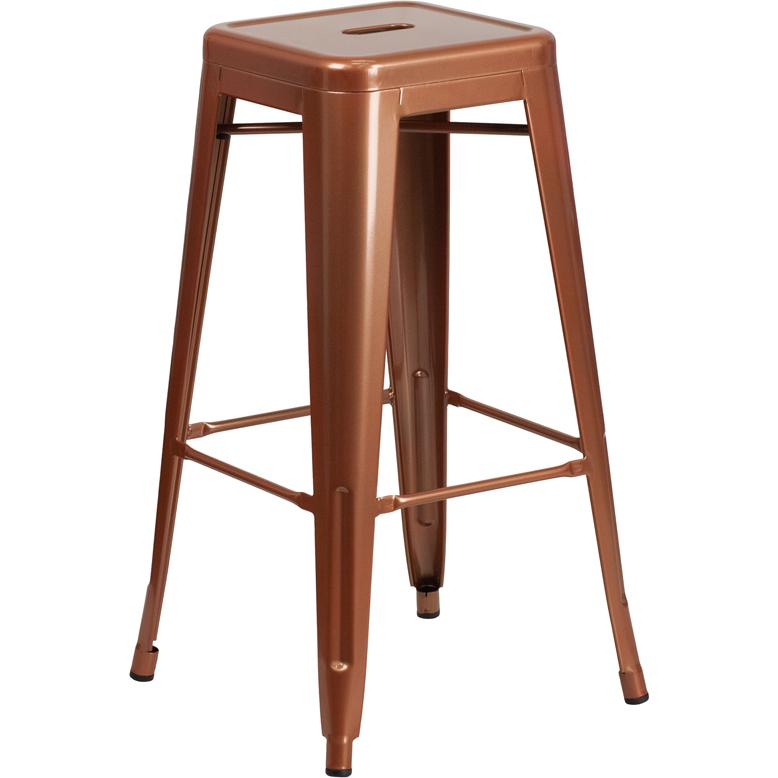 30 High Backless Copper Indoor Outdoor Barstool