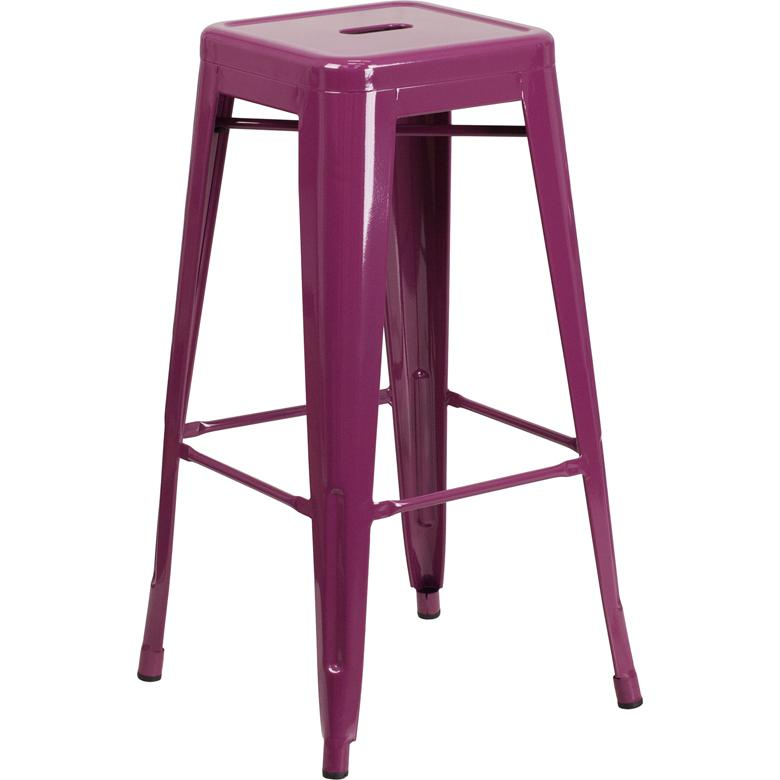 30 High Backless Purple Indoor Outdoor Barstool
