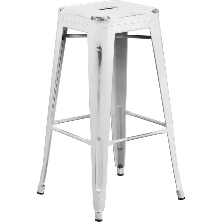 """Commercial Grade 30"""" High Backless Distressed White Metal Indoor-Outdoor Barstool. Picture 1"""