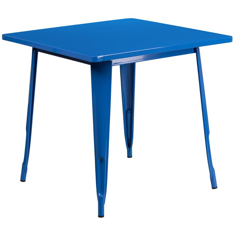 """Commercial Grade 31.5"""" Square Blue Metal Indoor-Outdoor Table. Picture 1"""
