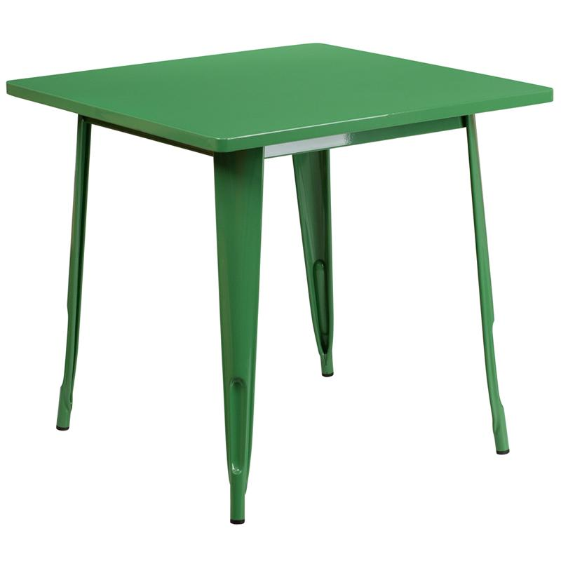 """Commercial Grade 31.5"""" Square Green Metal Indoor-Outdoor Table. Picture 1"""