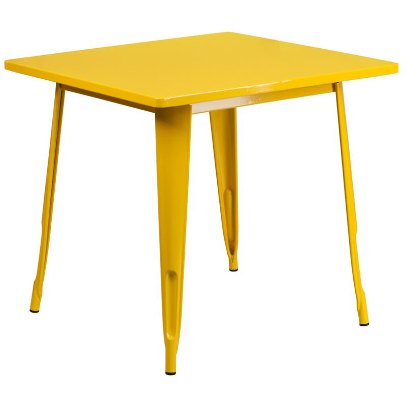"""Commercial Grade 31.5"""" Square Yellow Metal Indoor-Outdoor Table. Picture 1"""