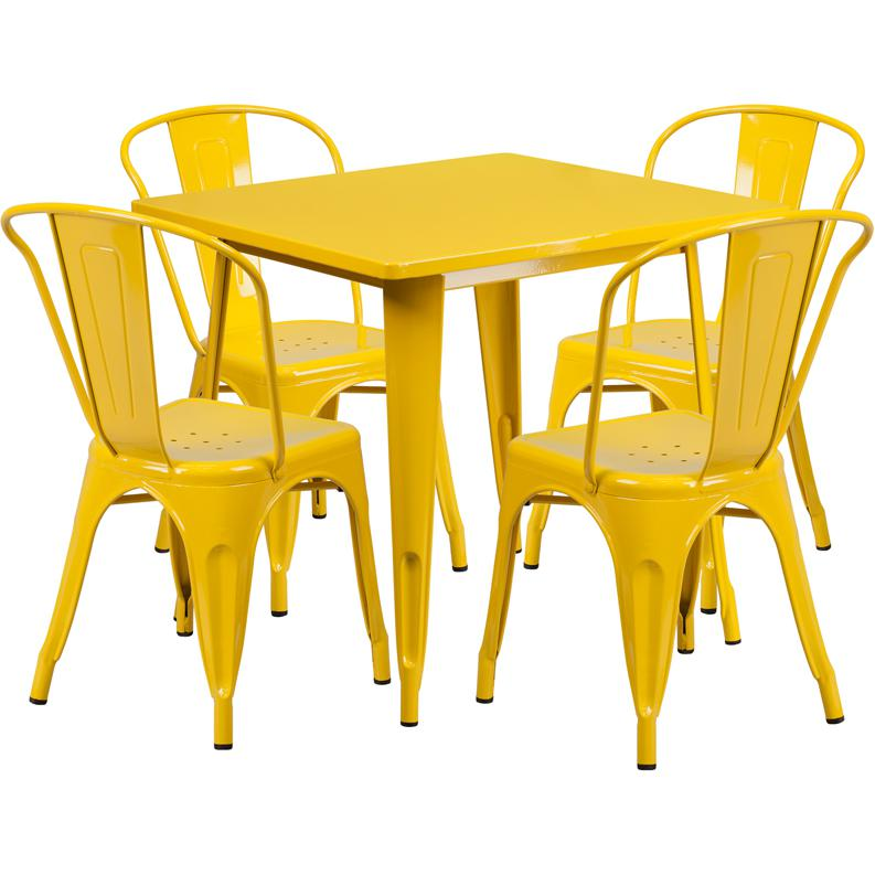 """Commercial Grade 31.5"""" Square Yellow Metal Indoor-Outdoor Table Set with 4 Stack Chairs. Picture 1"""