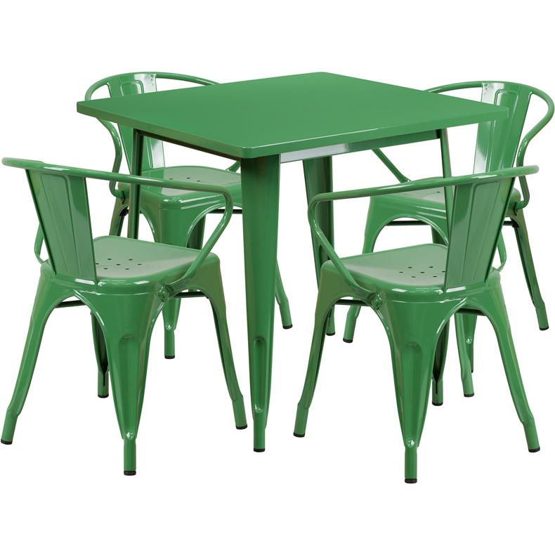 31.5'' Square Green Metal Indoor-Outdoor Table Set with 4 Arm Chairs. Picture 1