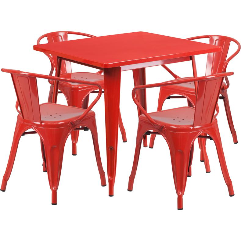 31.5'' Square Red Metal Indoor-Outdoor Table Set with 4 Arm Chairs. Picture 1