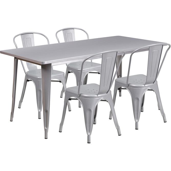 31.5''x63'' Rectangular Silver Metal In-Outdoor Table Set with 4 Stack Chairs. Picture 1