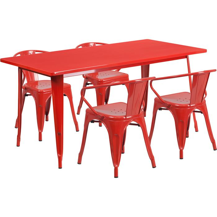 31.5'' x 63'' Rectangular Red Metal Indoor-Outdoor Table Set with 4 Arm Chairs. Picture 1