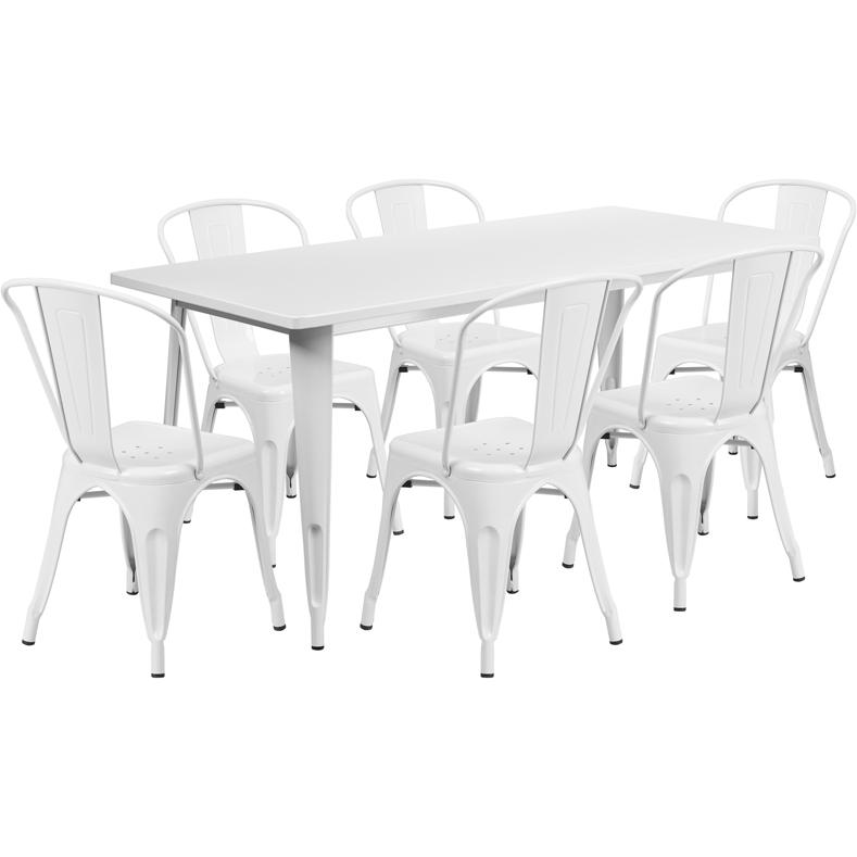 31.5''x63'' Rectangular White Metal In-Outdoor Table Set with 6 Stack Chairs. Picture 1