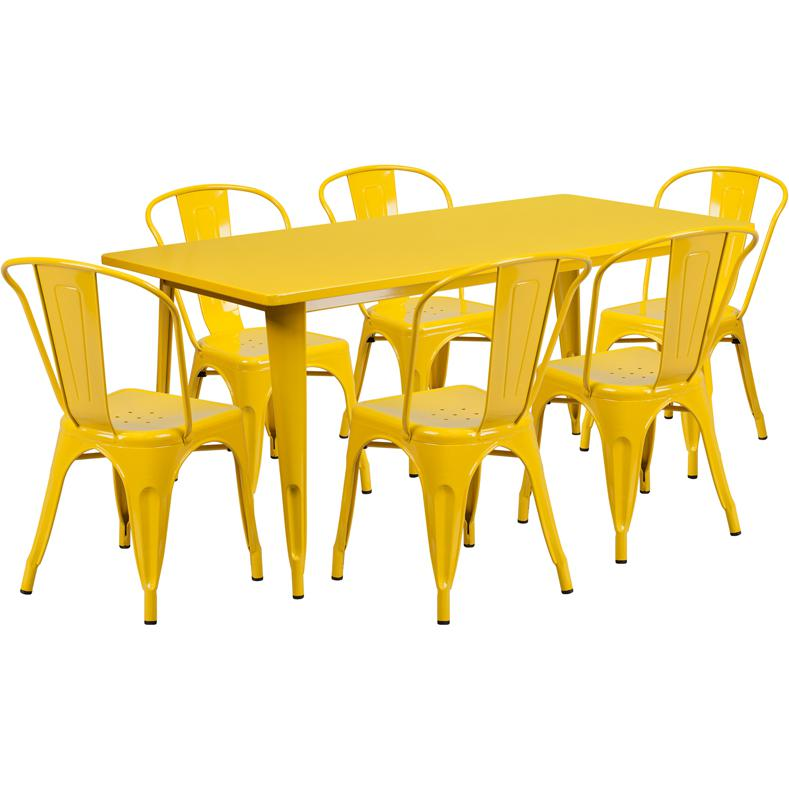 31.5''x63'' Rectangular Yellow Metal In-Outdoor Table Set with 6 Stack Chairs. Picture 1