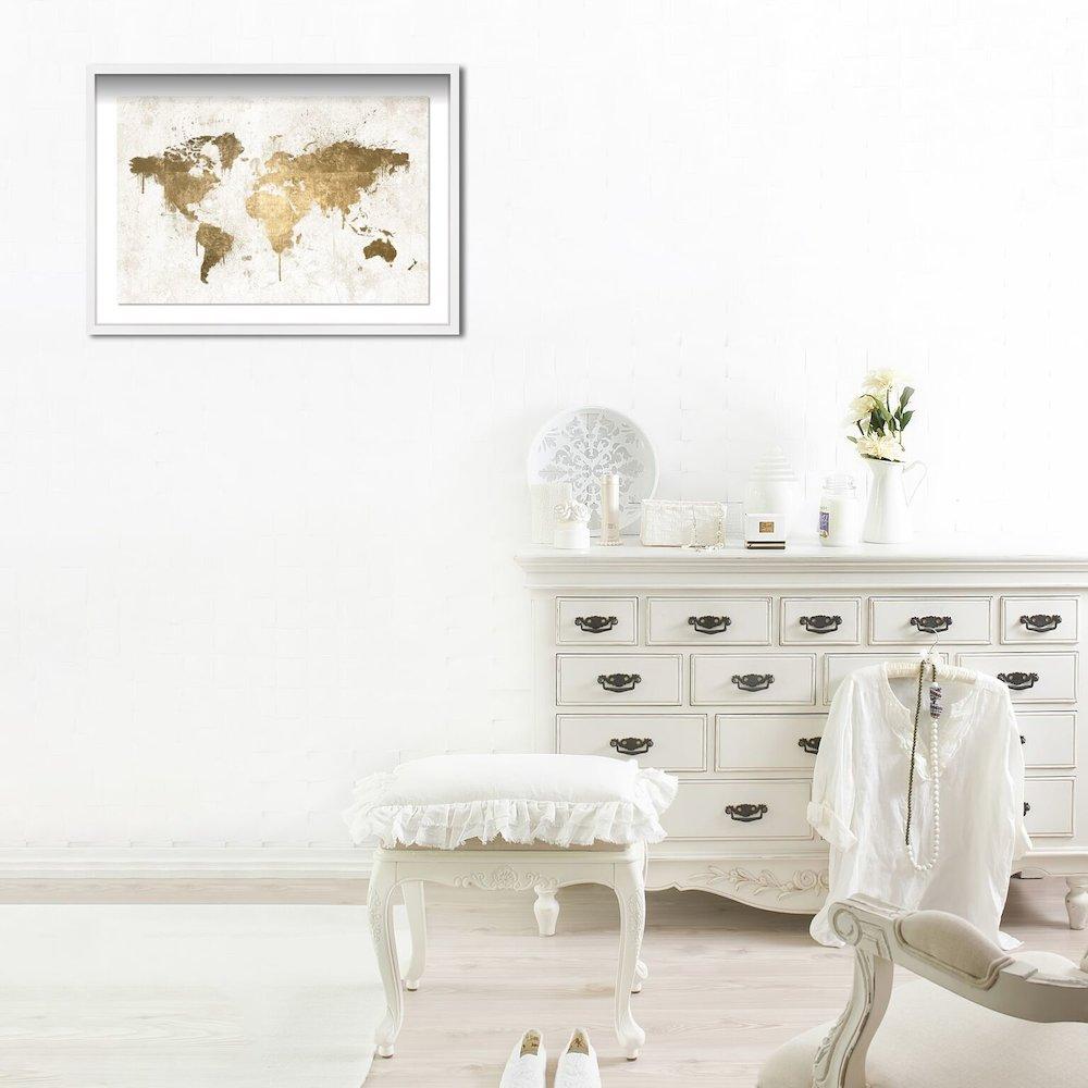Oliver Gal Mapamundi White Gold Framed Art 22x32x1 Inch Thumbnail