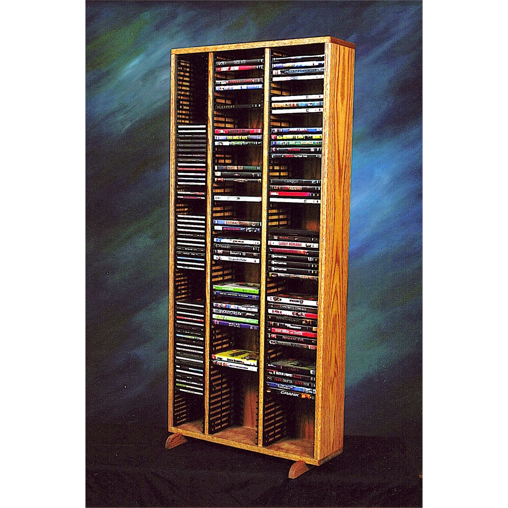 Solid Oak Tower for CD's and DVD's (Individual Locking Slots). Picture 1