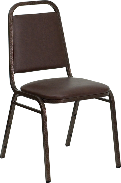 Trapezoidal Back Stacking Banquet Chair in Brown Vinyl - Copper Vein Frame