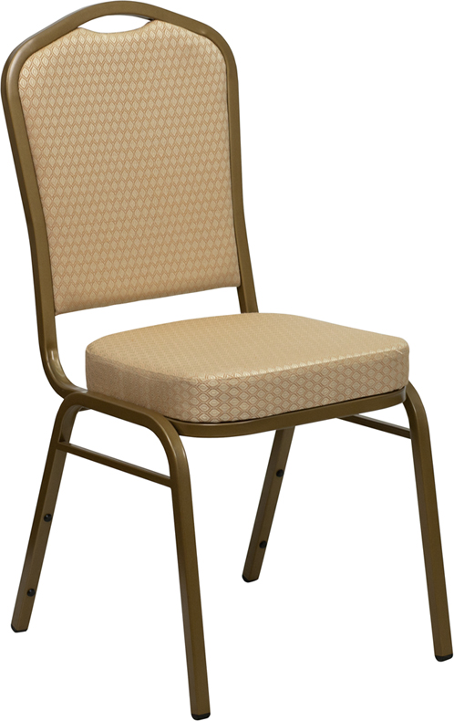HERCULES Series Crown Back Stacking Banquet Chair In Beige Patterned Fabric    Gold Frame