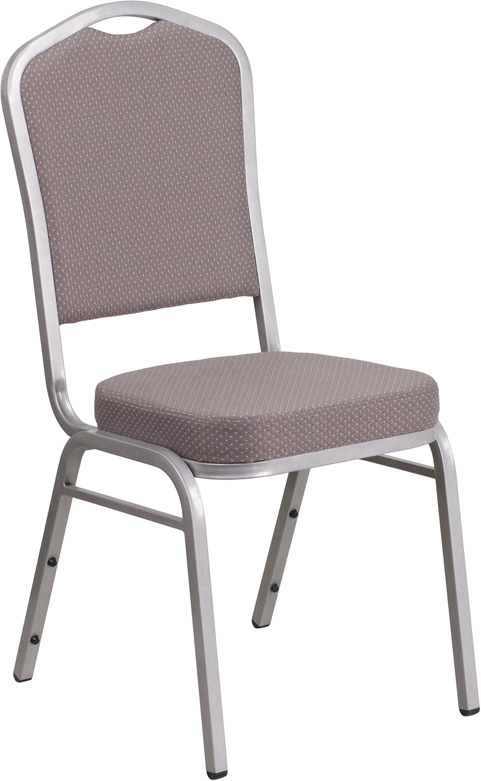HERCULES Series Crown Back Stacking Banquet Chair In Gray Dot Fabric    Silver Frame