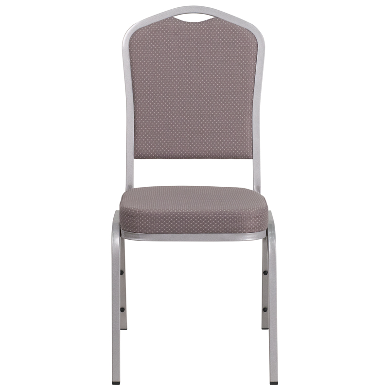 hercules series crown back stacking banquet chair in gray dot fabric