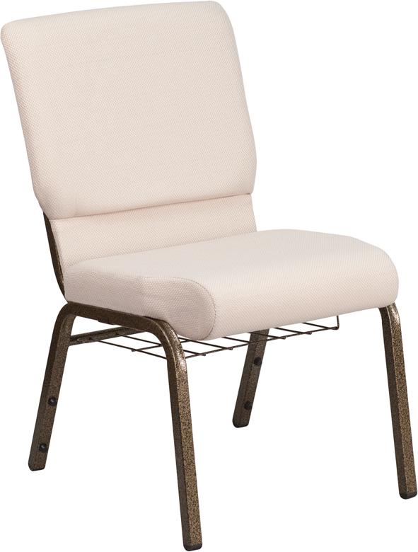 HERCULES Series 18.5u0027u0027W Church Chair In Beige Fabric With Cup Book Rack    Gold Vein Frame