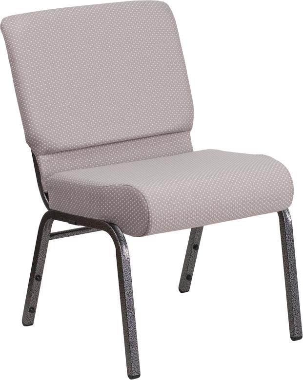 hercules series 21 w church chair in gray dot fabric silver vein